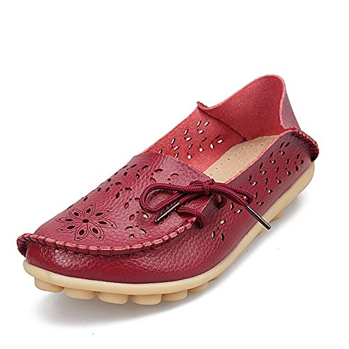 fereshte Casual Red Women's Leather Purplish Shoes Driving 2 Moccasins Flats Loafers ISIaqfrw