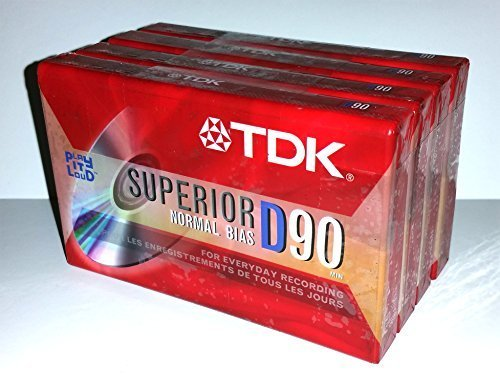 TDK Superior Normal Bias D90 IEC I / Type I For Everyday Recording Audio Cassette Tapes - 4 Pack