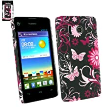 Emartbuy® Huawei Ascend Y300 Butterfly Garden Clip On Protection Case/Cover/Skin