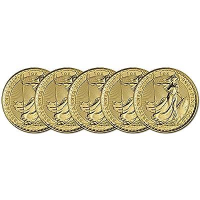 UK 2017 Great Britain Gold Britannia (1 oz) FIVE (5) Brilliant Uncirculated