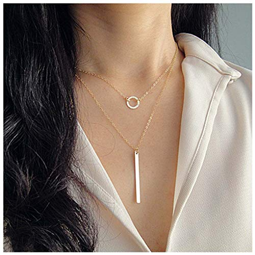 Olbye Layered Bar Necklace Circle Coin Necklaces for Women and Girls Drop Y Necklace Jewelry (Gold)