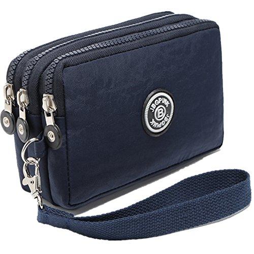 Three Layer Zipper Purse Waterproof Nylon Wallet Handbag Cell Phone Pouch Coin Purse (Deep blue)