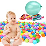 """TrendBox 300 Colorful Ocean Ball (Ship From USA) + Free Gift 50 Size 10"""" Balloons For Babies Kids Children Soft Plastic Birthday Parties Events Playground Games Pool"""