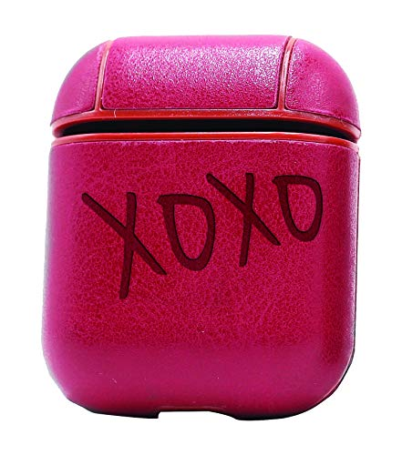 (XOXO KISS Hug Kisses HUGS Couple (Vintage Pink) Air Pods Protective Leather Case Cover - a New Class of Luxury to Your AirPods - Premium PU Leather and Handmade exquisitely by Master Craftsmen)