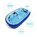 Image of Razou Inflatable Baby Bath Tub, Portable Bathing tubs, Whale Pattern, Thicken PVC Suit Newborn Infant Toddler Foldable Shower Pool For 0-3 T Kids