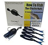 Harmony Fishing Company Chatterbait Kit - Z-Man 3/8oz Chatterbait + Z-Man Razor ShadZ + How to Fish The Chatterbait Guide (Black/Blue)