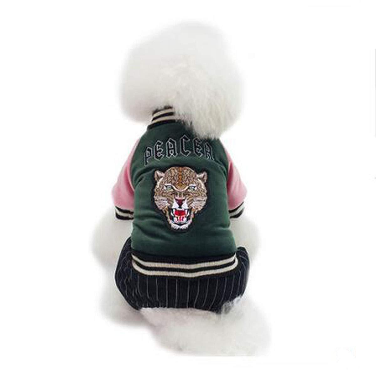 Pet Dog Clothes, Small Dog Four Legs Autumn Cute Cotton Jacket, Plus Velvet Thick Winter Clothing (color   Pink, Size   S)