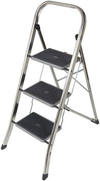 Taburete Escalera aluminio, 3 peldaños antideslizantes H104cm uso doméstico JK-3: Amazon.es: Bricolaje y herramientas