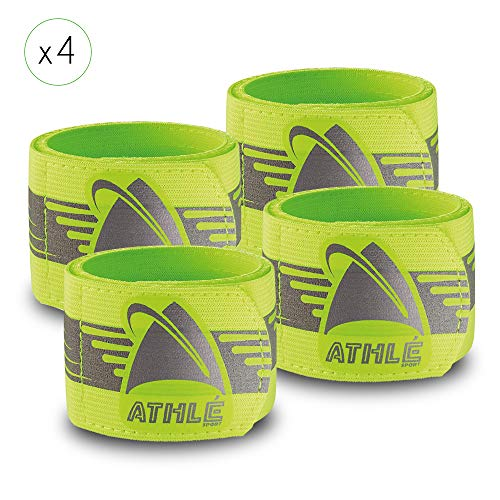 Athlé Reflective Bands 4 Pack – Adjustable 16'' Neon Yellow Straps for Wrist, Arm and Ankle - High Visibility Safety Gear For Running, Jogging, Cycling and Biking by Athle`Sport