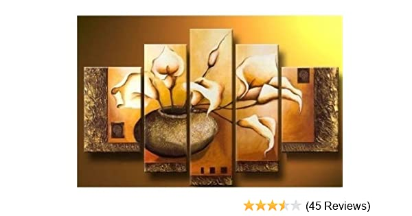 Amazoncom 100 Hand Painted Wood Framed Wall Art Weak Yellow Lily