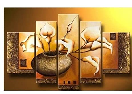 100% Hand Painted Wood Framed Wall Art Weak Yellow Lily Bottle Home  Decoration Abstract
