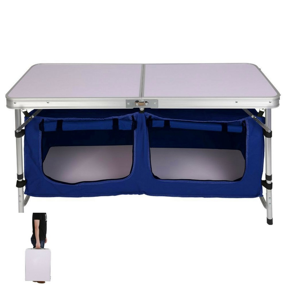 BS Outdoor Cooking Station Camping Picnic Table and Organizer Brick Kitchen Stand Storage Folding Tailgating Aluminum Cook Prep Station Serve Cart Furniture Hiking & eBook by BADA shop