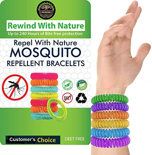 Rewind With Nature Anti Mosquito Repellent Bracelet for Kids, Adults, Pets 10 Pcs Insect Repellent Bracelet, Wrist, Ankle, 100% Natural Silicon- Non Toxic - Waterproof Safe Travel Bug Bands Bracelet