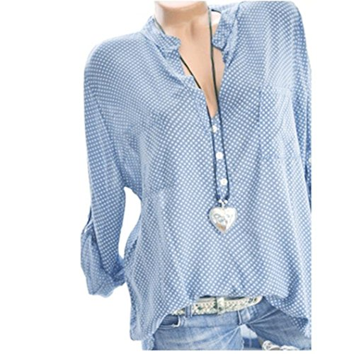 (vermers Women Long Sleeve T Shirt - Women Casual V-Neck Wave Point Printing Plus Size Tops Loose Blouse(S, Sky Blue))