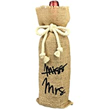 Vintage Wedding Gift Wine Bottle Cover, From Miss To Mrs Bridal Shower Decoration, Engagement Gift Burlap Wine Bag (From Miss to Mrs)