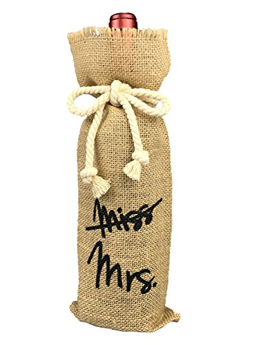 OYAMIHUI Vintage Wedding Gift Wine Bottle Cover, from Miss to Mrs Bridal Shower Decoration, Engagement Gift Burlap Wine Bag (from Miss to Mrs)
