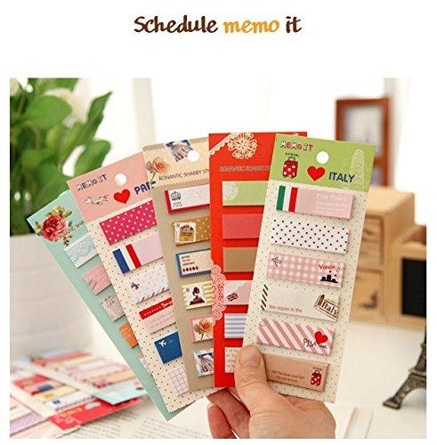 3 Pcs/Lot Cute Mini Memo Pad Sticky Note Kawaii Paper Scrapbooking Sticker Pads Creative Korean Stationery (Rondom Design) (Post It Note Heart Dispenser)