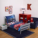 DP 4pc Boys Blue Red Disney Cars Movie Themed Comforter Set Toddler Sheets, Polyester Microfiber, Checkered Red Blue Sky Kids Bedding Bedroom, Racing Car Themed Luigi Guido