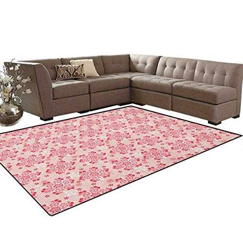 (Cherry Blossom,Carpet,Abstract Ornamental Design with Curls Swirls Flowers Vintage,Living Dinning Room and Bedroom Rugs,Blush Dark Coral White Size:6'6