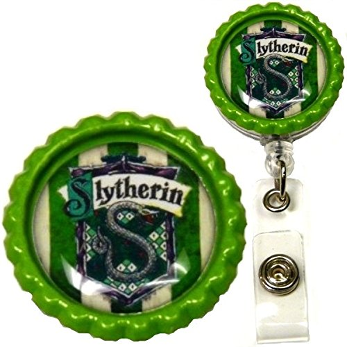 Harry Potter Hogwarts House Inspired Symbol Decorative ID Badge Holder (Slytherin Belt Clip) (Slytherin Symbol)