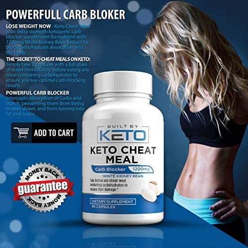 Carb Blocker - 1200mg White Kidney Bean Extract - Keto Cheat Meal - Best Carb, Starch, Fat Blocker for The Ketogenic Diet - Eat Carbs While on Keto - 60 Capsules - Built By Keto 5