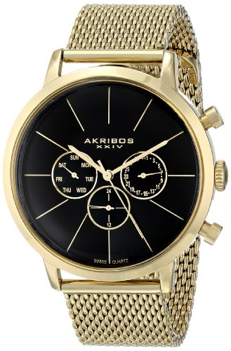 Akribos XXIV Men s AK714YG Ultimate Multifunction Stainless Steel Watch