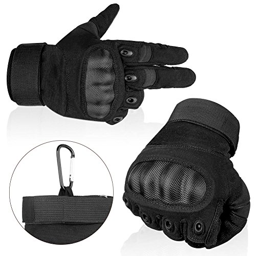 Full Finger Tactical Gloves with Hard Knuckle Protection for Cycling Motorcycle Airsoft Paintball CS Game Outdoor Activity Black Khaki Color (Black, XL).