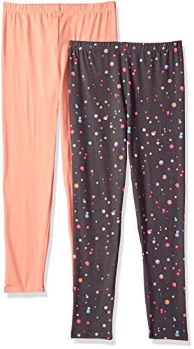 - One Step Up Girls' Big 2 Pack Super Soft Legging, Gray/Coral, 7/8