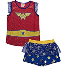 DC Comics Big Girls' Wonder Woman Glitter Crest Pajama Short Set