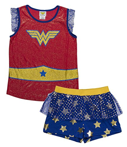 DC Comics Girls' Big Wonder Woman Logo 2-Piece Pajama Short Set, BLURED, -