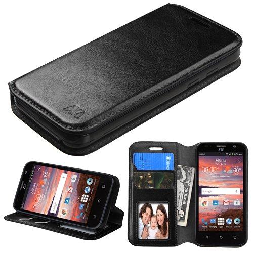 ZTE Maven, Fanfare, Overture 2, Speed, Atrium Scend Case – Wydan (TM) Credit Card Leather Wallet Style Case Cover – Black w/ Wydan Stylus Pen