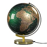 "Wild Wood Illuminated Geographic World 12"" Desk Globe with Stand, LED Lighting, and USB Plug, Fir Green and Brass (AWWL081)"