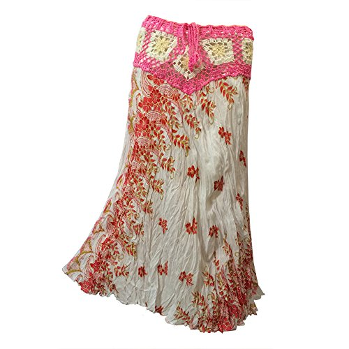 oomstick Skirt With Crocheted Yoke -Cascading Floral Print -Pink ()