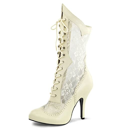 Wide Width Ivory Lace Victorian Boots With Front Lacing And 5 Inch Heels Size 7