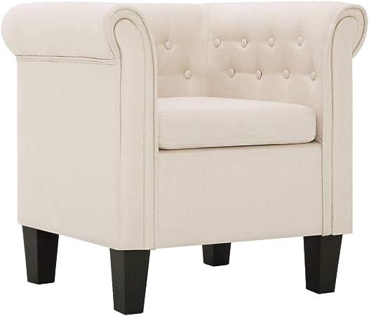 vidaXL Fauteuil avec Coussin Chaise de Salon Fauteuil de Salle de Séjour Chaise de Chambre à Coucher Intérieure Couloir Maion Crème Polyester