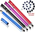Bargain Depot Capacitive Stylus / Styli 2-in-1 Universal Touch Screen Pen for All Touch Screen Tablets & Cell Phones with 20 Extra Replaceable Soft Rubber Tips (Pack of 4)