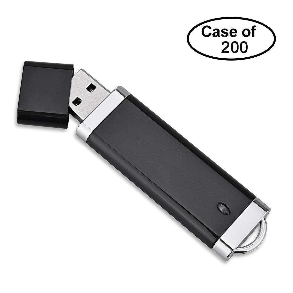 Case of 200, TOPESEL 4GB USB 2.0 Flash Drives Bulk Pack USB Memory Stick Data Storage Thumb Drive Zip Drive,Black
