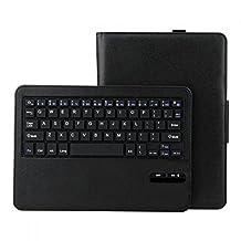 iClever® IC-BKC05 Samsung Galaxy Tab S 10.5'' Wireless Bluetooth Keyboard PU Leather Case Stand Cover - Detachable Bluetooth Keyboard - Folding Portfolio 10.5 Inch Tablet Keyboard Case for Samsung Galaxy Tab S Tablet-Black