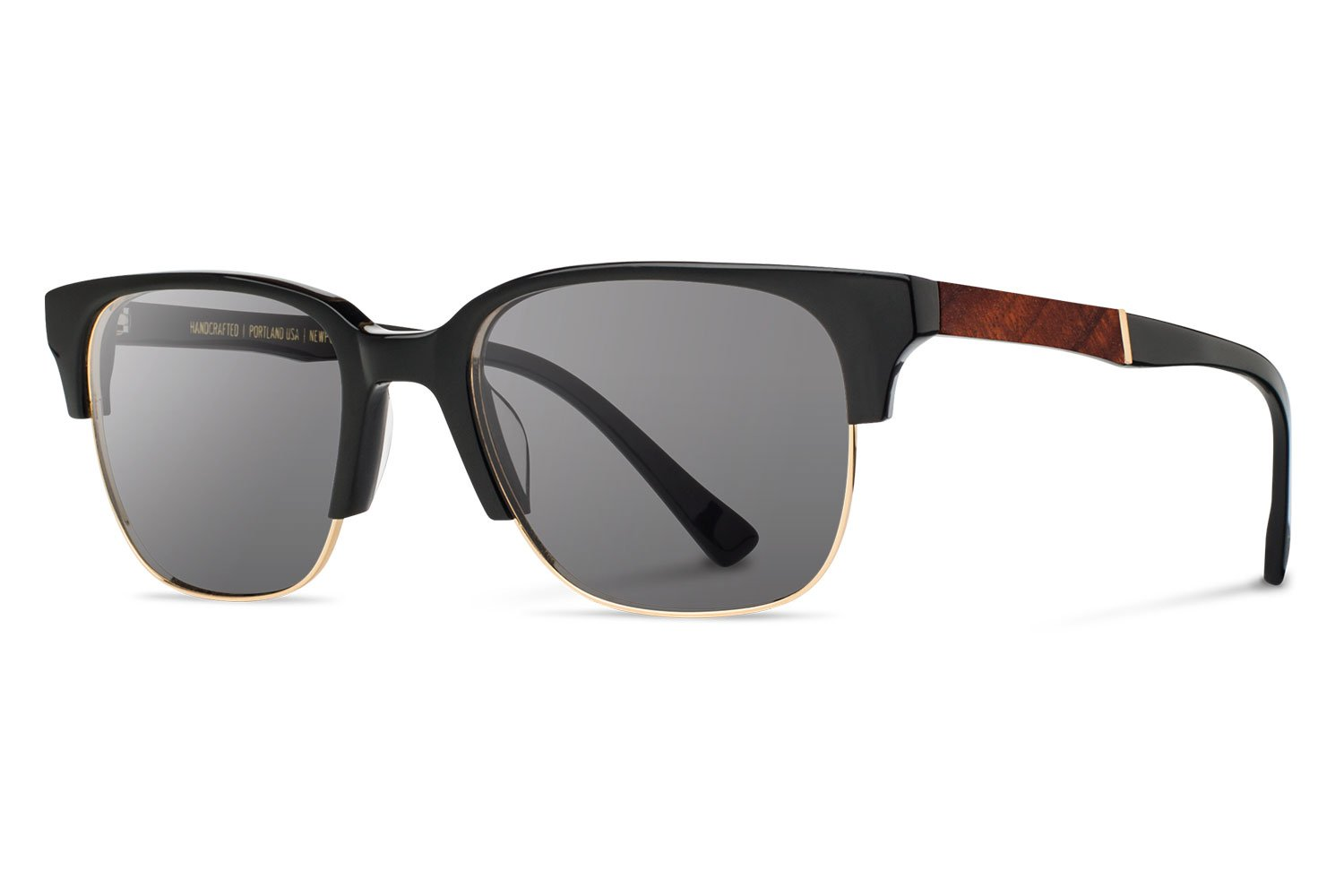 Shwood - Newport 52 mm Acetate, Sustainability Meets Style, Black with Mahogany Inlay, Grey Lenses
