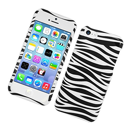 Black Zebra Snap - Eagle Cell Snap Protector Case for Apple iPhone 5c - Retail Packaging - Black and White Zebra