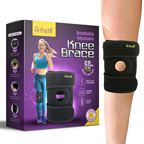 Knee Brace for Meniscus Tear | Supports and Relieves PCL, ACL, LCL, MCL, Arthritis, Tendonitis Pain | Open Patella Dual Stabilizers | Neoprene Brace |Non-Slip Straps ()