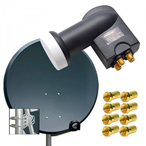 PremiumX Digital SAT Anlage 100 cm ALU Schüssel Spiegel Antenne Antrazith + PremiumX Quad LNB PXQS-SE 0,1dB für 4 Teilnehmer + 8 F-Stecker 7mm vergoldet