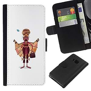EJOY---La carpeta del tirón la caja de cuero de alta calidad de la PU Caso protector / HTC One M7 / --Pintura sijismo hombre indio bigote Arte