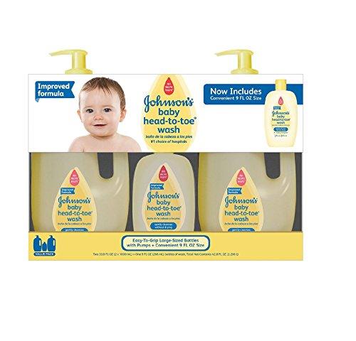 Johnson's Baby Head-to-Toe Wash (2 - 33.8 fl. oz., 1 - 9 fl. (Baby Wash Head)