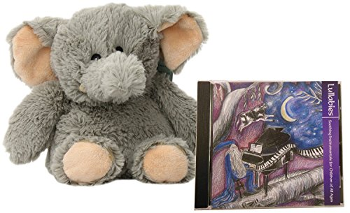 Intelex Cozy Microwavable Plush Elephant Bundle with Natural Sleep Aid Lullaby CD