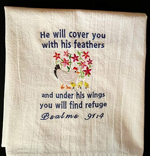 Towel Embroidered Hand Hemmed - Hen and chicks scripture embroidered tea towel, dish towel, flour sack towel, kitchen towel