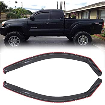 MGPRO 4pcs Smoke Tint Out-Channel Reinforced Acrylic Sun Rain Guard Vent Shade Window Visors for 05-15 Toyota Tacoma Double Crew Cab with four full size Doors