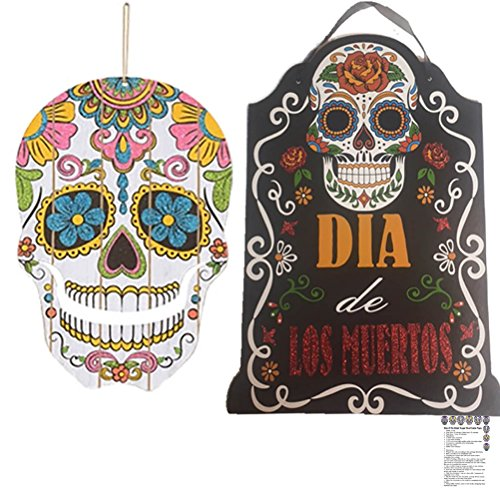 Dia de Los Muertos Mask Decorations Set Party Supplies Day of the Dead Masks Wall Décor Indoor Outdoor Sugar Skulls Skeleton Wall Hanging Wood Sign Recipe Set (Dia De Los Muertos Door Decorations)