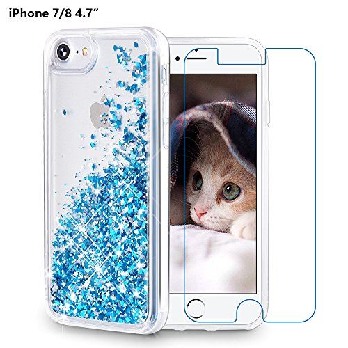 iPhone 8 case, iPhone 7 Case, Maxdara [Free Screen Protector] Protective Glitter Liquid Floating Bling Sparkle Quicksand Shockproof Bumper Case Pretty Fashion Design for Girls Children 4.7 inch