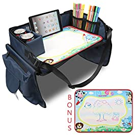 Fondear Children's Travel Toy Tray Kids' Car Seat Snack, Game Tray Activity Table for Stroller, Car, Airplane, Road Trip…